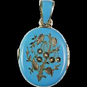 Victorian Enamel Silver Locket Bohemian Blue Enamel Seed Pearl Sterling Locket Pendant Hand Engraved