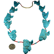 Turquoise Fetish Necklace Chunky Statement Necklace Native American Necklace Chunky Gemstone Necklace American Indian Neckace Huge Necklace Navajo Artisan Jewelry