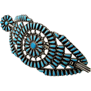 Astonishing designer signed custom Zuni Fine Turquoise American Indian Hand Made Fine Sterling Silver Barette Barrette Hair Clip