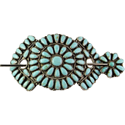 Zuni Hair Barettes Barette Turquoise Sterling Silver Hair Clip Native American Indian Pettitpoint Needlepoint Turquoise Silver Hair Barrette Navajo Artisan Silver Hair Pin Hair Bow Hair Comb Hair Accessories Designer Jewelry Comb
