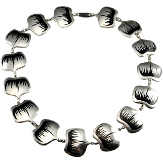 Scandinavian Jewelry Enamel Necklace Modernist Necklace Sterling Silver Danish Jewelry 1950s Jewelry Mid Century Jewelry Statement Necklace Minimalist Jewelry Collar Choker Statement 1950s 1960s 1970s Mid Century