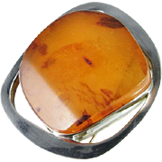 Custom Unique Amber Modernist Abstract Hand Made Sterling Silver Vintage Brooch Pin Mid century Retro Sculptural 1960s 1970s