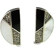 Onyx Sterling Silver Earrings Marcasite 925 Sterling Earrings Mother of Pearl Black and White Vintage Marcasite Clip On Ear clips Non Pierced 1980s Art Deco Style Chunky Statement Handmade 925 Sterling Silver Runway Jewelry Unique One of a Kind