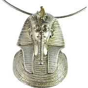 Chunky Statement Pendant Necklace Sterling Silver 925 Vintage Fine EgyptianRevival Pharoah Tutankhamum Large Custom Made Sterling Silver Pendant Necklace Custom 1970s Unique One of a Kind Rare