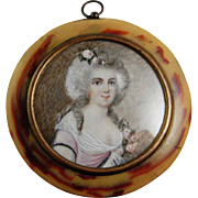 Georgian Jewelry Miniature Portrait Ormolu Pressed Horn Portrait Miniature Marie Antoinette Antique Portrait Painting 18th Century Wig Gilt Dress Antique Victorian Sterling Silver Inlay Pendant for Necklace