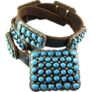 Silver Concho Belt by Native American Signed Daniel Martinez Sterling Silver Turquoise Concho Hand Made Vintage Concho Belt American Indian