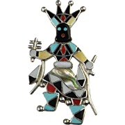 Kachina Inlay Signed Designer American Indian Vintage Sterling Silver Hand Made Pendant Brooch Pin Kachina 1970s Custom