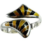 Inlay Inlaid Sterling Silver Clamper Bangle Bracelet Cuff 925 1980s Wide Chunky Statement Astonishing Fine Tigers Eye and Onyx Inlay Inlaid Custom Designer Signed Sterling Silver Clamper Bangle Bracelet Minimalist Unique One of a Kind Designer