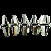 Minimalist Sterling Silver Bracelet 925 Tennis Wide Chunky Statement 1970s Handmade Hand Made Sauteur Renoir Fine Modernist Mid Century Vintage Sterling Silver Bangle Bracelet 1960s Retro Fine