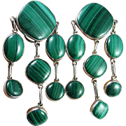 Large Malachite Sterling Silver Earrings Clip On Ear Clips Mid Century Modernist Chandelier Drop Dangle Chunky Statement Huge Big Green 1960s 1970s Retro Fine