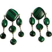 Large Malachite Sterling Silver Earrings Clip On Ear Clips Mid Century Modernist Chandelier Drop Dangle Chunky Statement Huge Big Green 1960s 1970s Retro Fine Green Cocktail Earrings Handmade Artisan Jewelry