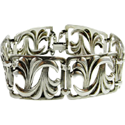 Art Deco Sterling Silver Bangle Bracelet Tennis Line 925 Handmade Hand Made Sterling Silver Bangle Bracelet 1930s 1940s Unique Scroll Motif Jewelry Downton Abbey Great Gatsby