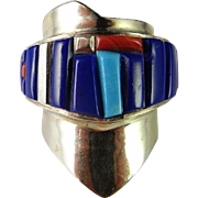 Natural Vivid Blue Lapis lazuli Silver Ring Turquoise Native American Indian Solid Sterling Silver Ring 925 925S Custom Designer Sculptural One of a Kind 1950s 1960s 1970s Navajo Unique Chunky Statement