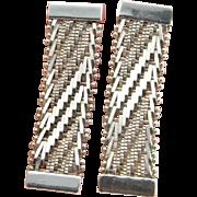 Mesh Earrings Chevron Earrings 1970s Jewelry Minimalist Earrings Drop Earrings Woven Earrings Minimalist Jewelry Dangle Earrings Geometric Mid Century Jewelry Geometric