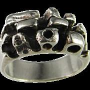 Signet Seal Sterling Silver Ring 925 Brutalist Mad Men Custom Designer One of a Kind Rare Retro Mid Century Modernist Brutalist Sculptural Sterling Silver Ring Fine 925 925s 1950s 1960s 1970s Band Retro