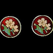 Enamel Silver Earrings Flower Floral Daisy Pretty Dainty Jewelry 1950s Cloisonne Enamel Cherry Blossom Flower Earrings Mid Century Japanese Fine Sterling Silver