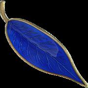 Royal Electric Blue Enamel Leaf Pin Hand Made Mid Century Designer Signed Fine Sterling Silver