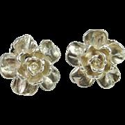 English Rose Earrings Sterling Silver Earrings Clip On Ear Clips Vintage Earrings Rose Jewelry Electroform Jewelry Floral Earrings Floral Jewelry Handmade Earrings 1980s Earrings Statement Earrings