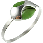 Jade Bracelet Jade Bangle Nephrite Jade Green Jade Jade Bangle Bracelet Silver Bracelet Modernist Bracelet Cuff Bangle Bracelet Minimalist 1950s Jewelry Mid Century 1960s 1970s Fine Handmade Unique Unisex