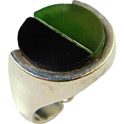 Jade Onyx Sterling Silver Ring Inlay Inlaid 925 Fantastic Unique Custom Designer Nephrite Jade Onyx Modernist Hand Made Designer Signed One of a Kind 925 Sterling Silver Ring 925S Mad men Cocktail Minimalist 1950s 1960s 1970s