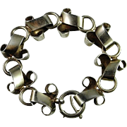 Extreme Rare Art Deco Sterling Silver Bracelet Bangle Tennis Line 925 Tank Wide Chunky Chain Statement circa 1930 Hand Made Sterling Silver 925 Buckle Design Tank Style Bracelet One of a Kind Custom Made Downton Abbey Great Gatsby Unisex Unique
