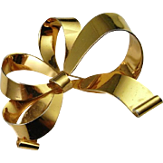 Art Deco Bow Brooch Pin Sterling Custom Hand Made Early 1940s Gold Plate 925