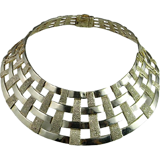 Runway Catwalk Vintage Custom One of a Kind Hand Made Designer Cage Collar Necklace 925 Sterling Silver Unique