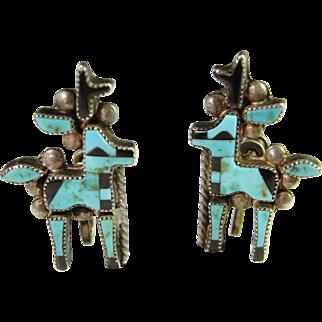 Reindeer Christmas Earrings Rare Exquisite 1940s Art Deco Era American Indian Turquoise Onyx Inlay Hand Made Deer Screw Back Designer Custom Sterling Silver Earrings Gatsby Unique Handmade Vintage