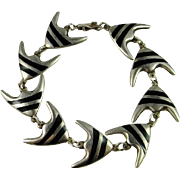 Designer Signed Denmark Danish Meka Mid Century Modernist Hand Crafted Sterling Silver Enamel Bracelet Angel Fish Design Rare 925 1950s
