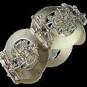 Modernist Bracelet Minimalist Bracelet Mid Century Jewelry 1970s Jewelry 1950s 1960s Space Age Blogger Modern Statement Chunky Brutalist Jewelry 835 Silver Bracelet Sculptural Geometrica Panton Eames