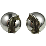Modernist Silver Earrings 925 Sterling Handmade Mid Century Jewelry Vintage Silver Ear Clips Clip On Earrings Designer Earrings 1970s Jewelry Minimalist Jewelry Handmade Non Pierced Signed Abstract Sculptural 1950s 1960s