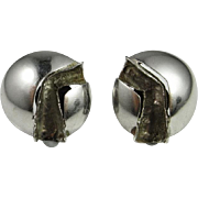 Modernist Silver Earrings 925 Sterling Handmade Mid Century Jewelry Vintage Silver Ear Clips Clip On Earrings Designer Earrings 1970s Jewelry Minimalist Jewelry Handmade Non Pierced Signed Abstract Sculptural 1950s 1960s Geometric Jewelry