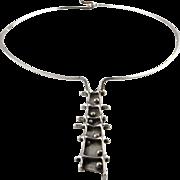 1970s Necklace Silver Collar Choker Pendant Necklace Mid Century jewelry Brutalist Jewelry Statement Necklace Dainty Collier Minimalist Jewelry Geometric Star Trek Modernist Moderne Modern 1960s 1950s Jewellery Handmade