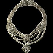 Jugendstil Antique Necklace Silver Bib Necklace Festoon Necklace Drape Necklace Art Nouveau Jewelry German Jewelry Edwardian Necklace