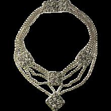 Jugendstil Antique Necklace Silver Bib Necklace Festoon Necklace Drape Necklace Art Nouveau Jewelry German Jewelry Edwardian Necklace - Red Tag Sale Item