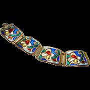 Enamel Bracelet 1950s Jewelry Colorful Bracelet Sterling Silver Bracelet Modernist Bracelet Modernist Jewelry Mid Century Jewelry Artisan