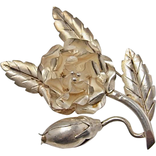 Rose Brooch Vintage Sterling Silver Floral Brooch Flower Brooch Handmade Brooch 1950s Brooch Wedding Jewelry Unique Gifts Dainty Jewelry 925