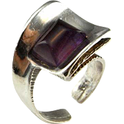Amethyst Ring Amethyst Cabochon Ring Artisan Ring Mid Century Ring Unisex Ring Silver Signet Ring Modernist Ring Minimalist Ring Retro Ring