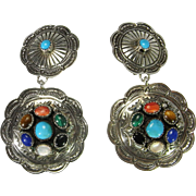 Large Clip On Earrings Cabochon Gemstone Earrings Boho Jewelry Turquoise Earrings Southwestern Earrings 1970s Jewelry 1960s Jewelry Tigers Eye Multistone Multicolor Ear Clips Bohemian Vintage Statement Big Massive Stamped Silver