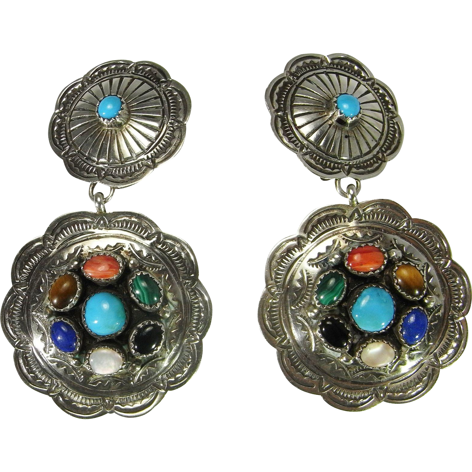 large clipon earrings large clip on earrings cabochon gemstone earrings boho 1293