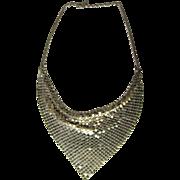 Italian Jewelry Silver Bib Necklace Sterling Bib Necklace Silver Scarf Necklace Drape Necklace 1970s Jewelry Handmade Glomesh 925 Fine