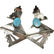 Turquoise Earrings Drop Earrings Modernist Earrings Asymmetrical Earrings Inlay Dangle Earrings Native American Indian Sterling Silver