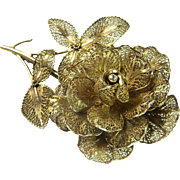Filigree Brooch Rose Brooch Rose Jewelry Art Deco Brooch Art Deco Bridal Jewely Bouquet Brooch Vermeil Jewelry Great Gatsby Gold Rose Downton Abbey 1920s 1930s 1940s Hair Pin