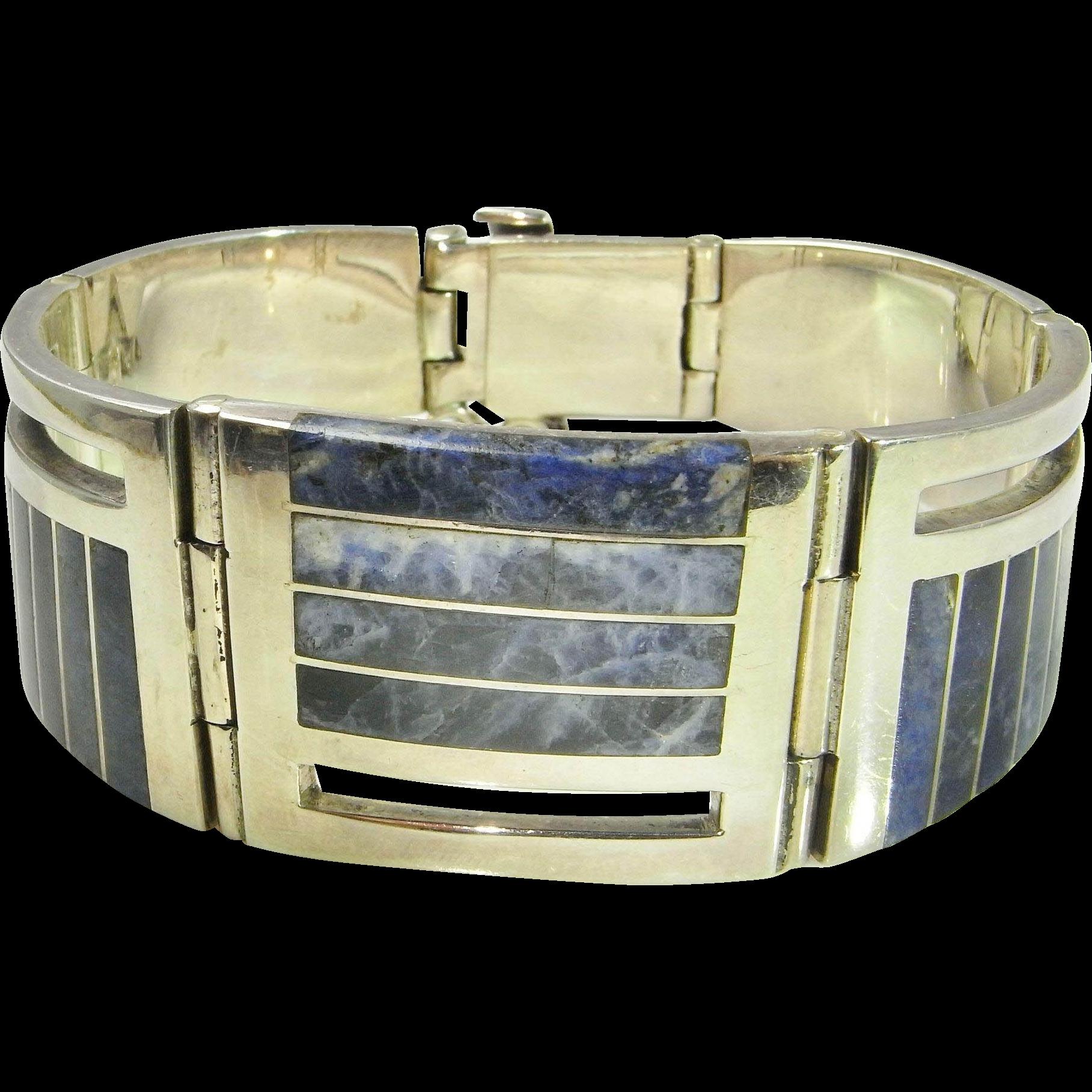 Sodalite Bracelet Sodalite Jewelry Unisex Bracelet Inlay Jewelry