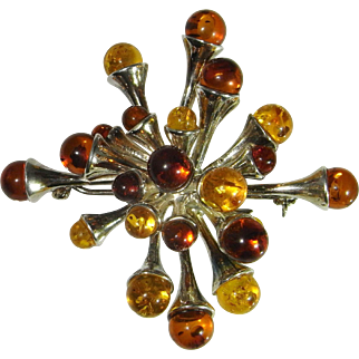Amber Brooch Amber Cabochon Amber Jewelry Amber Silver Brooch 1950s Brooch Honey Amber Yellow Amber Natural Amber 1950s Jewelry Fine