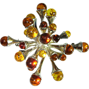 Amber Brooch Pendant Amber Cabochon Baltic Amber Jewelry Amber Sterling Silver Brooch 1950s Brooch Honey Amber Yellow Amber Natural Amber 1950s Jewelry Fine Mid Century Modernist Starburst Sputnik Space Age 1960s 1970s Unique Statement Pin Brooch
