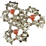 Rhodochrosite Jewelry Modernist Jewelry Unique Brooch Handmade Jewelry Mid Century Jewelry Statement Jewelry Sterling Silver Brooch Brutalist Jewelry 50s 1950s 60s 1960s 70s 1970s Space Age