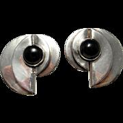 Onyx Cabochon Earrings Statement Earrings Artisan Earrings Sterling Silver Earrings Clip On Earrings Big Earrings Large Earrings Retro 925 Jewelry Space Star Trek Modernist 1980s 80s