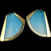 Wire Wrapped Earrings Fan Earrings Wing Earrings Turquoise Color Earrings Gold Plated Earrings Modernist Earrings Artisan Earrings Boho Earrings Boho Statement
