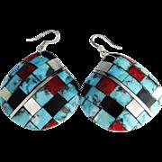 Turquoise Statement Earrings Vintage Sterling Silver Drop Earrings Dangle Earrings Boho Earrings Santo Domingo Jewelry Inlay Earrings Native American Indian Vintage Fine Red Agate Turquoise Drop Dangle Inlaid